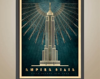 EMPIRE STATE BUILDING, New York, Fifth Avenue, Art Deco, Iconic Building, Empire State Lobby Illustration