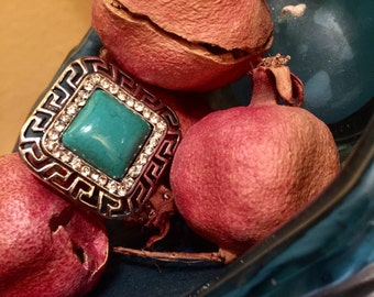Turquoise Diamond Square Ring Greek Ornate Etched Silver Finish Metal Adjustable Statement Bold Boho Tribal Festival Costume Jewelry