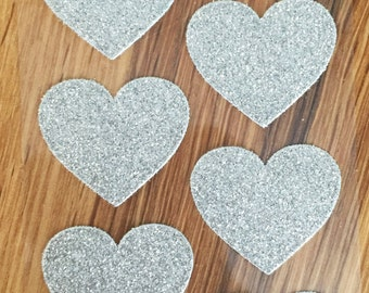Sticker heart glitter silver - Pack of 10