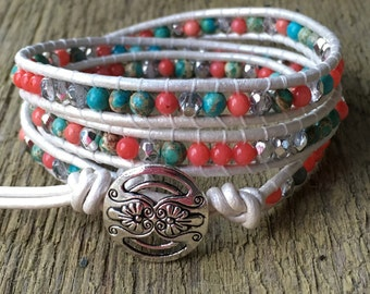 Beaded Leather Wrap Bracelet. Pink Coral, Blue Jasper and Silver Crystal.