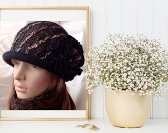 Merino Wool Felted Hat,Felt cloche hat , Hat,Women Spring Fashion, Fall Elegant Fashion, Cloche Felt Hat, Stylish Classy Lady Hat