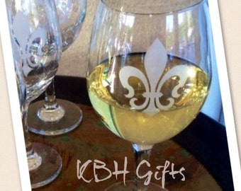 Set of 4 Fleur de Lis Wine Glass