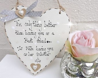 PERSONALISED Christening Godmother Friend Plaque HANDMADE to order