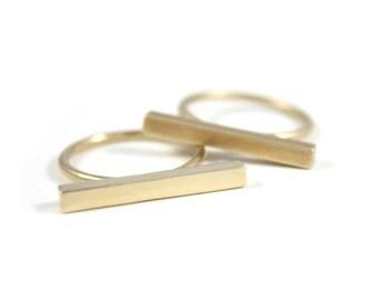 Bar ring in bronze
