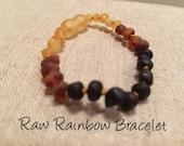 Baltic Amber Teething Bracelet Polished or Raw 5.5 inch Drooling, Colic, Reflux Lemon Cognac Rainbow Multi Milk Honey Cherry