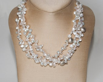 Keshi Pearl and Silver Necklase