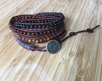CatMar Beaded Coffee Jasper Classic Wrap Bracelet with Brown Leather Cord and Antique Gold Button
