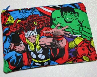 Marvel Comics Superheroes Bag  - Thor - captain america - ironman - hulk - cosmetic bag - makeup bag