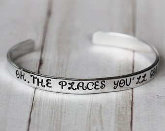 Ready to ship Oh The Places You'll Go!  A hand stamped Graduation Gift   gift for her   Graduat Jewelry