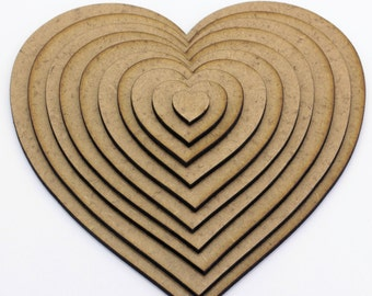 Heart Craft Shapes, 2mm MDF Wooden Embellishments, Tags, Decorations (10 pack)