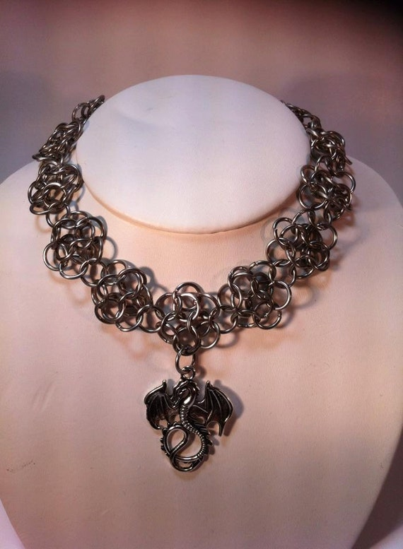 Chain Maille Stainless Steel Choker / Necklace Dragon Roses- Sexy USA MADE