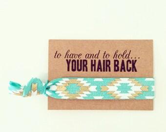 Turquoise + Gold Bachelorette Favor Hair Ties | Turquoise Hair Tie Favors, Jade Turquoise + Gold Boho Aztec Tribal Bachelorette Party Favors