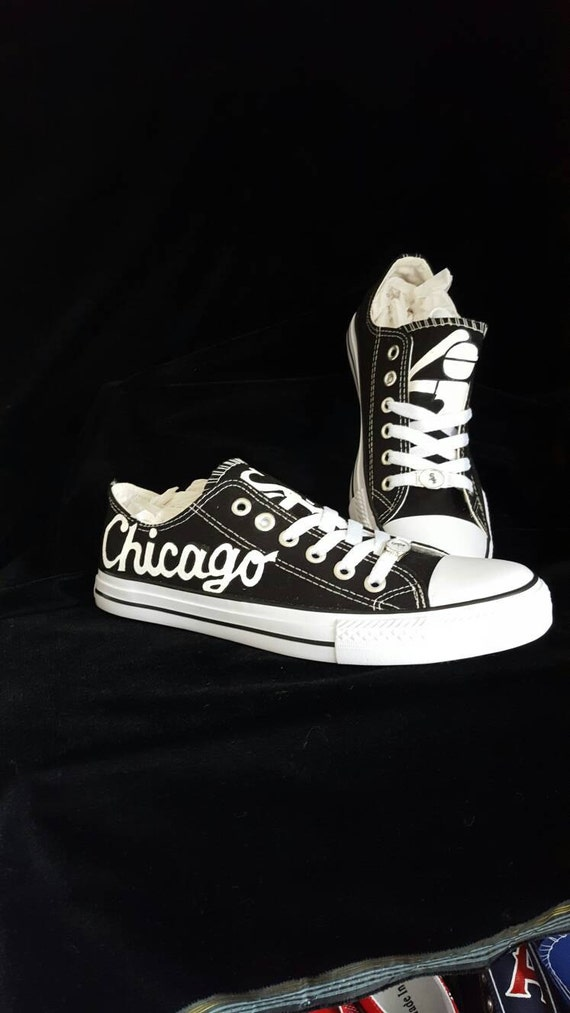 custom chicago white sox painted fan shoes