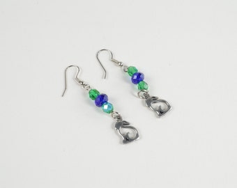 Silver Dangle Rabbit Earrings