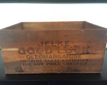 Vintage Jelke Good Luck Margarine Wooden Crate Box Storage Centerpiece Wood Rustic