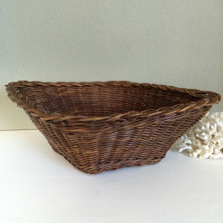 Old Handmade Baskets : Vintage bread basket handmade diamond