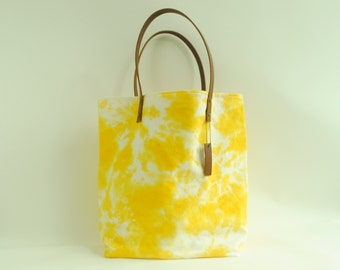 Organic canvas tie dye tote bag, leather straps, yellow, brown