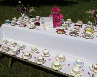 60 Vintage Tea Cups and Saucers for Tea Party, Wedding, Baby Shower, Bridal Shower, Teacups and Saucers