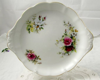 Royal Kent Serving Plate with Flowers, Vintage Plate, Bone China
