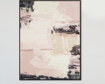 Large Abstract Art, Printable Abstract Wall Art, hand painted, light peach pink and black, wall art, acrylics and inks, 16x20 original art