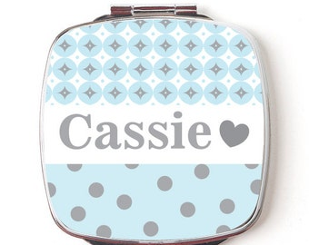 Custom Bridesmaids Gifts, Personalized Compact Mirror, Baby Blue, Wedding Party, Makeup Mirror