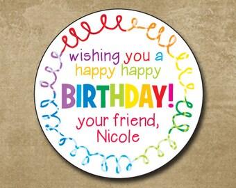 Personalized Rainbow Gift Sticker, Birthday Labels, Birthday Birthday Favor Stickers, Round Stickers