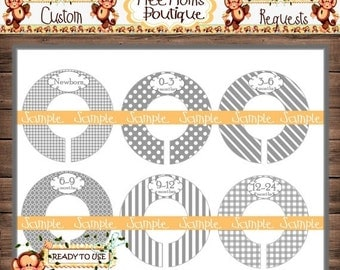 ON SALE Assembled Grey Baby Closet Dividers Nursery Closet Dividers Baby Clothes Divider Custom Closet Divider {M211}