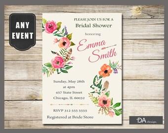 Boho Bridal Shower Invitation, Bridal Shower Floral Invitation, Bridal Shower Invitation, Birthday Invitation, DIGITAL FILE