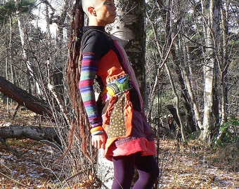 corduroy dress and winter patchwork