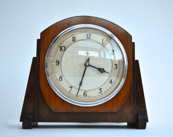 1930s Ferranti Electric Clock Mantel Clock Art Deco Clock Vintage Mantel Clock Vintage Lounge Clock Vintage Clock Vintage Home Decor