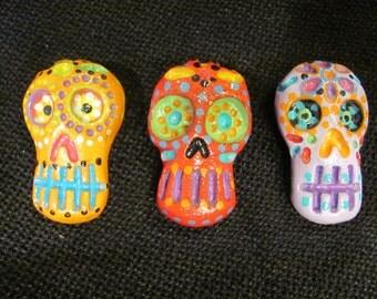 Sugar Skull Magnets - Set of 3
