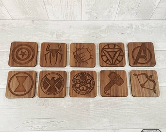 Superhero Walnut Comic Coasters