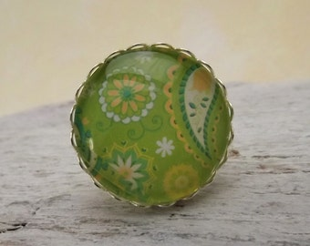 Jewelry paisley, ring adjustable, jewelry rings, ring women, ring with paisley pattern green, gift for you