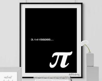 Mathematician Pi poster, Math Notation, Famous Mathematicians, Math Art, Math typography, wall decor, digital poster print, INSTANT DOWNLOAD