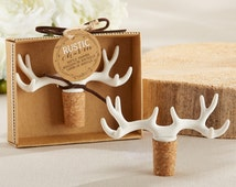 Rustic Charm Antler Bottle Stopper Corks Wine Stoppers Wedding Bridal Shower Favor Winery  Country Chic Table Setting Hostess Thank You Gift