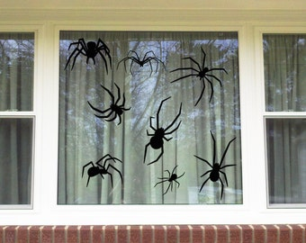 Halloween Spiders Window/Wall Vinyl Decal Decorations...You choose the color!