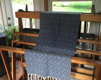 Handwoven Blue & Silver Grey Alpaca Wrap