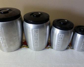 Vintage Spun Aluminum Canisters, Complete Set