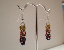 Handmade Byzantine Chainmaille Earrings - 'Orkney Flag' - Red Blue Gold Byzantium