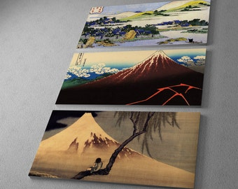 """Japanese Art Collage by Katsushika Hokusai. Gallery Wrapped Canvas Triptych Print 48""""x30"""""""