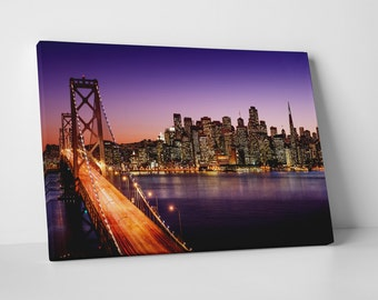 San Francisco Bay Bridge Skyline Gallery Wrapped Canvas Print