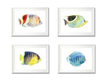 watercolor print, fish print set of 4 art , animal print, children wall art