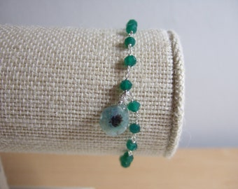 """Green Onyx, July's Birthstone, 925 Sterling Silver  7"""" Rosary Chain Bracelet with Dyed Solar Quartz Charm"""