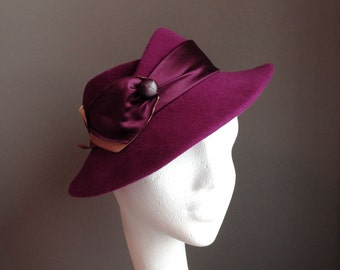 TERESA Plum Fur Felt Fedora Hat Thirties Style Millinery