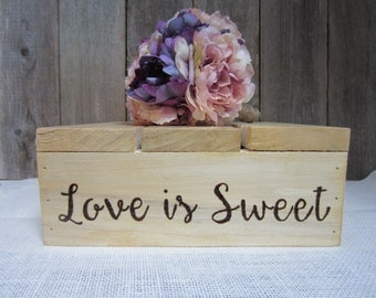 Cake stand, wedding cake stand, love is sweet, cupcake stand, rustic bridal shower, country bridal shower, bridal shower stand, rustic stand