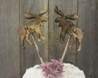 Moose cake toppers, moose cupcake toppers, woodland wedding cake topper, woodland cake topper, moose topper, woodland topper, rustic topper