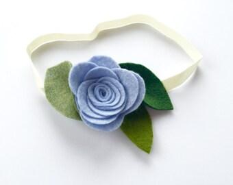 felt flower headband, alligator clip, flower headband, serenity blue, baby blue