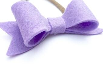 Felt bow headband - Lilac purple - felt bow