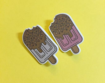 melting together popsicle brooch