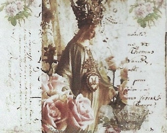 Corinne Layton Vintage Instant Digital Download Collage Card Vintage Blessed Mary (Suitable for Framing)